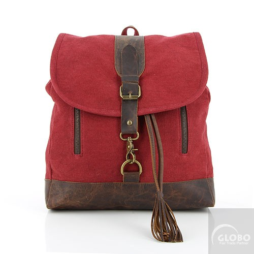 Canvas Rucksack fairtrade rot Leder.jpg