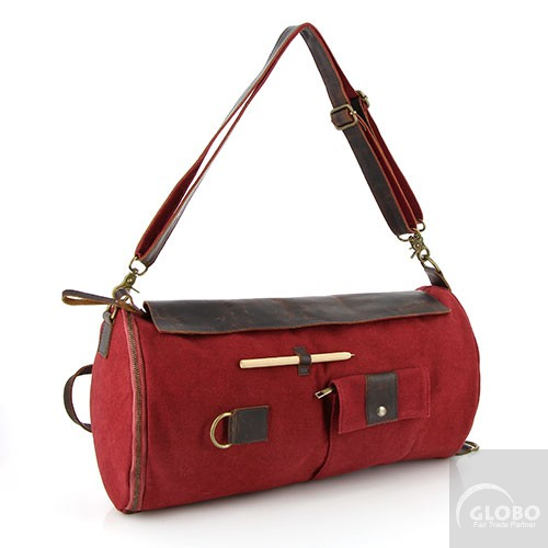 recycling vielfalt duffle bag fairtrade roter canvas rucksack. Black Bedroom Furniture Sets. Home Design Ideas